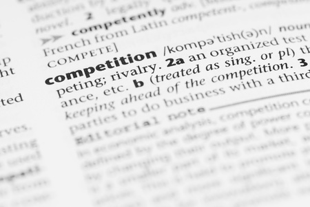 pronunciation: Macro image of dictionary word: Competition. Stock Photo
