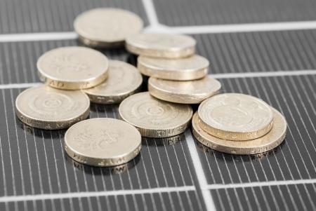 photoelectric: Macro image of Photovoltaic solar panel.