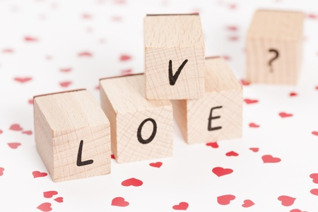 fondness: The word love made out of wooden blocks.