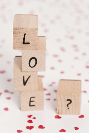 The word love made out of wooden blocks  Stock Photo