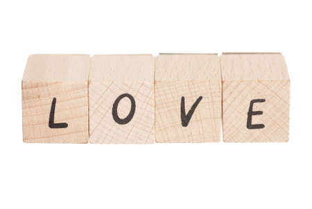 The word love constructed out ouf wooden blocks  photo