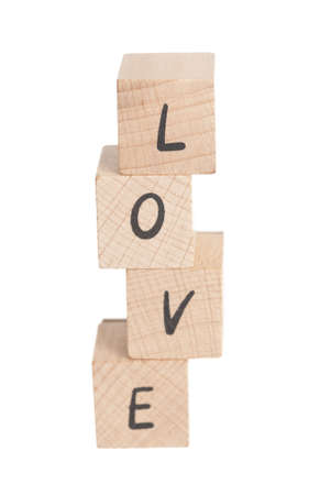 The word love constructed out ouf wooden blocks
