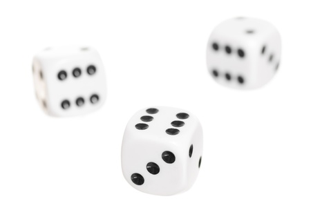 Three falling dice on white background  Stock Photo - 17832253