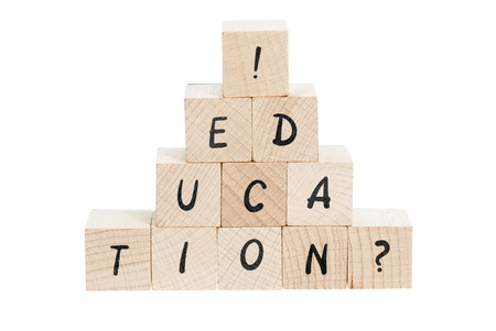 toy blocks: Education spelled out with wooden blocks and exclamation mark.