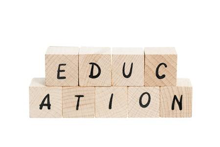 pronunciation: Education spelled out with wooden blocks. White background.