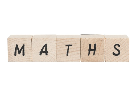 Maths written with wooden blocks. White background. Stock Photo - 18004407