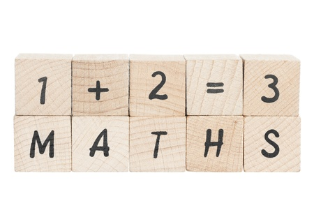 addition symbol: Word maths with a sum written using wooden blocks. White background. Stock Photo
