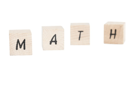 Math written with wooden blocks  White background  Stock Photo - 18004400