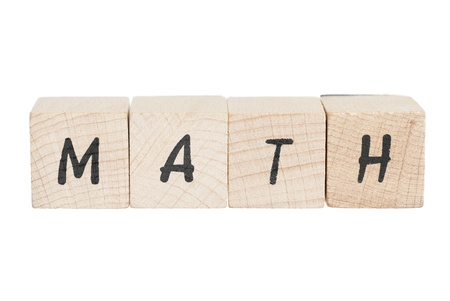 Math written with wooden blocks  White background  Stock Photo - 18004410
