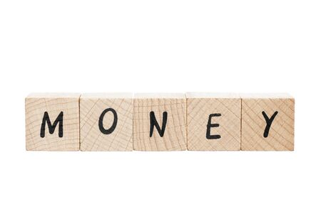 Money spelled out using wooden blocks  White background  photo
