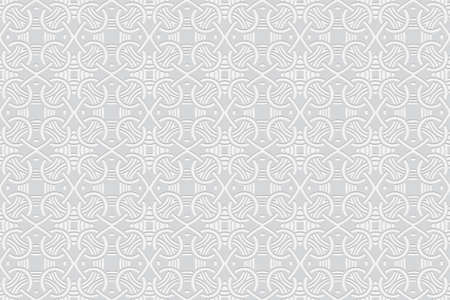 3d volumetric convex geometric white background. Embossed ethnic abstract curly pattern. Oriental, Islamic, Arabic, Maracan motives. Ornament for wallpapers, presentations, textiles, websites. Vetores
