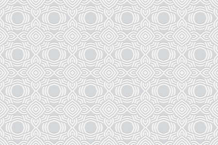3D volumetric convex embossed geometric white background. Ethnic pattern in the style of doodling, based on the peoples of the East and Asia. Abstract ornament for wallpaper, website, textile.