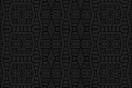 Geometric 3D volumetric convex black background. Ethnic folk ornament. African, Mexican, Indian style. Stylish pattern for design and decoration. Vektorgrafik