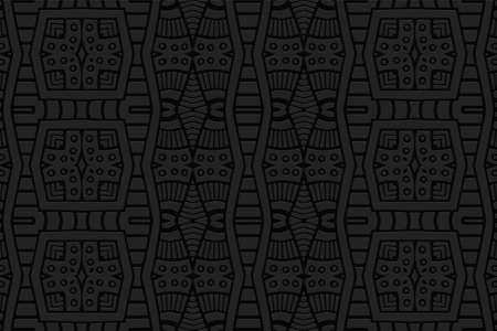 Geometric 3D volumetric convex black background. Ethnic folk ornament. African, Mexican, Indian style. Stylish pattern for design and decoration. Vektorové ilustrace