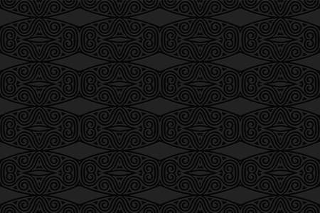 3D volumetric convex embossed geometric black background. Ethnic pattern in the style of doodling, the creativity of the peoples of the East. Exotic trendy ornament for wallpaper, website, textile.