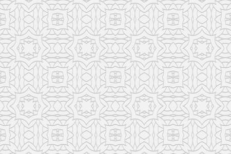3D volumetric convex embossed geometric white background. Ethnic pattern with spectacular ornament. Islam, Arabic, Indian, Ottoman motives. 向量圖像
