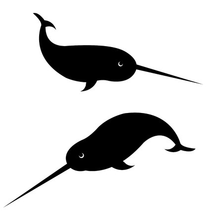 vector black silhouette of narwhall swimming isolated on white background