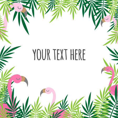 tropical leaves green and pink flamingo summer frame text card banner square isolated on white background
