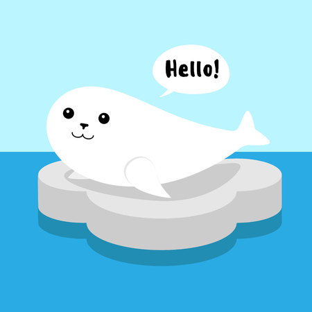 white cute flat cartoon seal on gray ice foal in blue sea saying hello