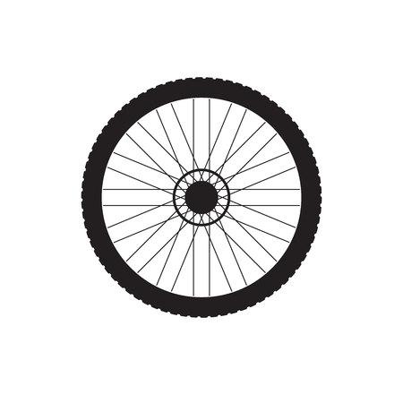 Vector flat black icon logo of bicycle wheel isolated on white background