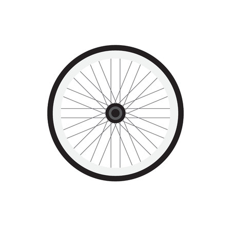 Vector flat cartoon black gray icon logo of bicycle wheel isolated on white background