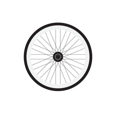 Vector plate bande dessinée icône grise noire logo de roue de vélo isolé sur fond blanc
