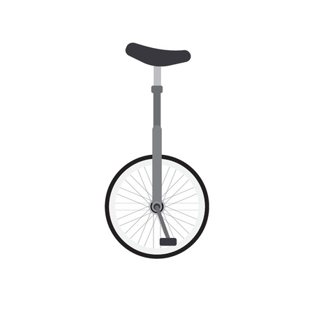 Vector flat cartoon gray one wheel bicycle isolated on white background Иллюстрация