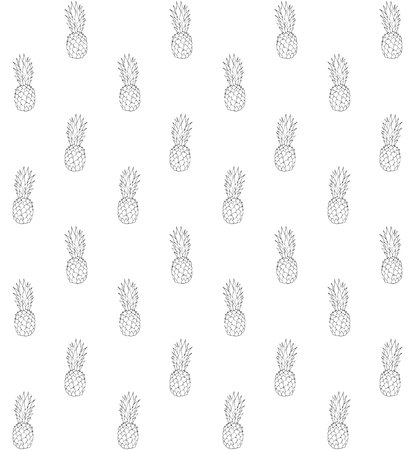 Vector seamless pattern of hand drawn doodle sketch pine apple pineapple isolated on white background