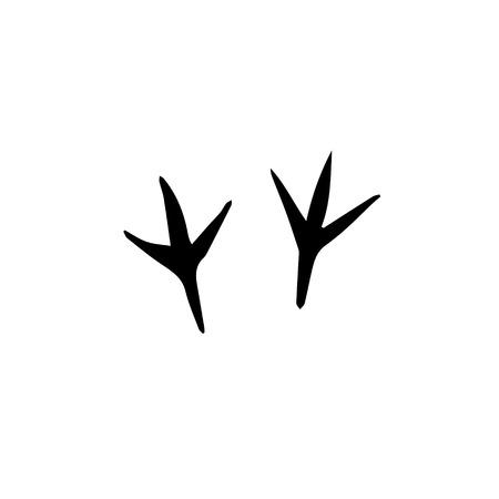 Vector icono de pasos de pata de pájaro negro aislado sobre fondo blanco Ilustración de vector