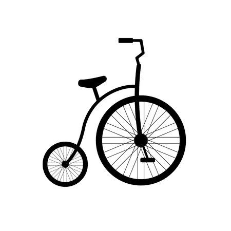 Vector flat cartoon black icon of one wheel circus retro bicycle isolated on white background