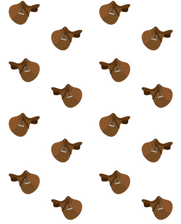 seamless pattern vector brown cartoon flat classical english show cross jumping horse saddle isolated on white Illustration
