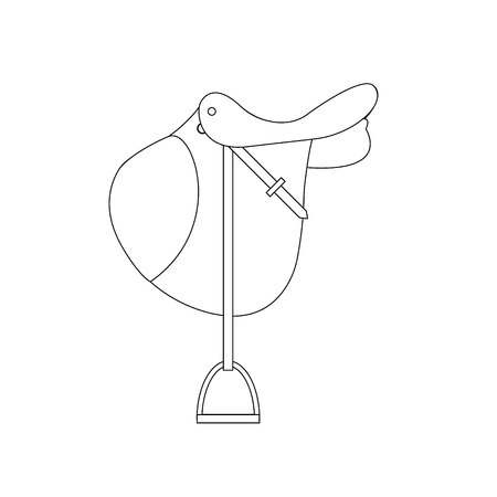 vector line hand drawn icon cartoon flat classical english show cross jumping horse saddle isolated on white Illustration