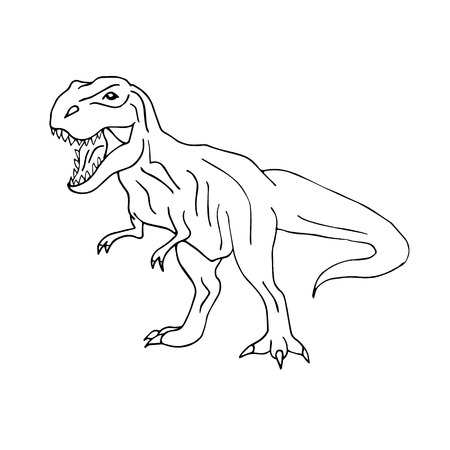 Vector hand drawn doodle sketch tyrannosaur dinosaur isolated on white background Vektoros illusztráció