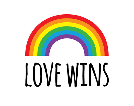 Vector flat cartoon pride rainbow love wins lettering isolated on white background