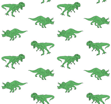 Vector seamless pattern of green hand drawn doodle sketch triceratops and tyrannosaur dinosaur isolated on white background