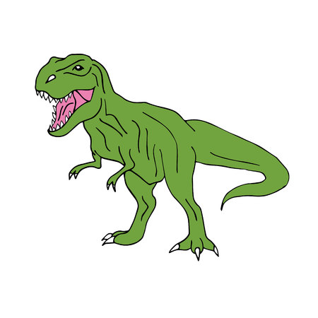 Vector hand drawn doodle sketch green tyrannosaur dinosaur isolated on white background Vectores