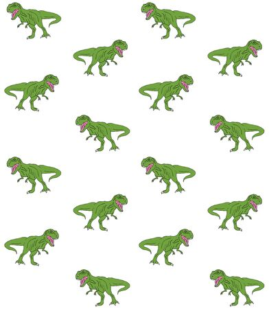 Vector seamless pattern of hand drawn green doodle sketch tyrannosaur dinosaur isolated on white background