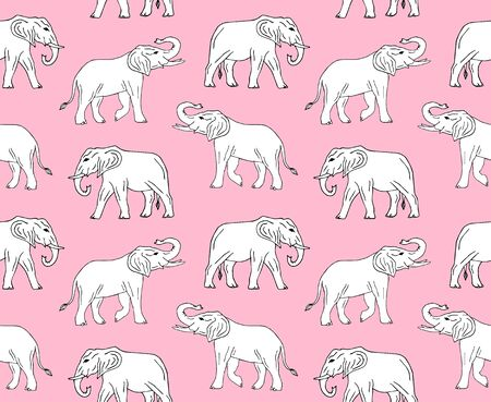 Vector seamless pattern of white hand drawn doodle sketch elephant isolated on pastel pink background