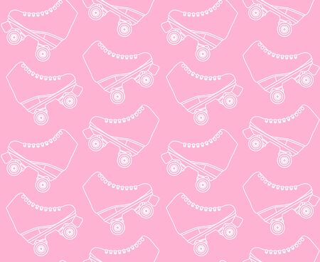 Vector seamless pattern of flat cartoon white line drawn roller skates isolated on pastel pink background