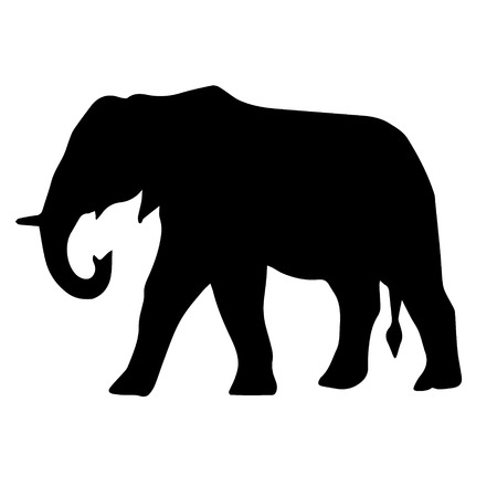 Vector flat black silhouette di elefante africano isolato su sfondo bianco