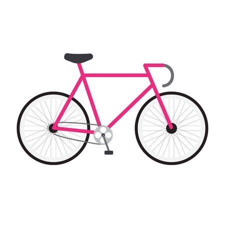 Vector flat cartoon icon of modern sport race bicycle isolated on white background