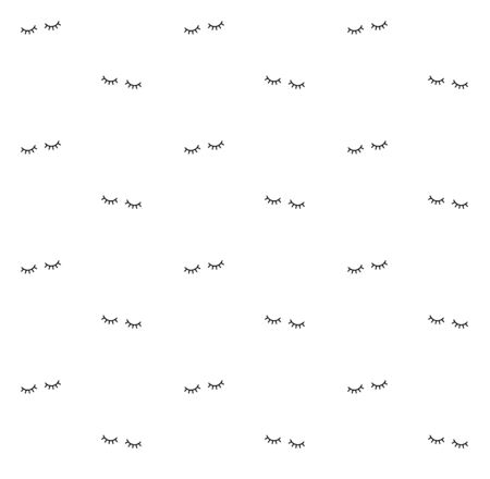 Vector seamless pattern of closed eyes isolated on white