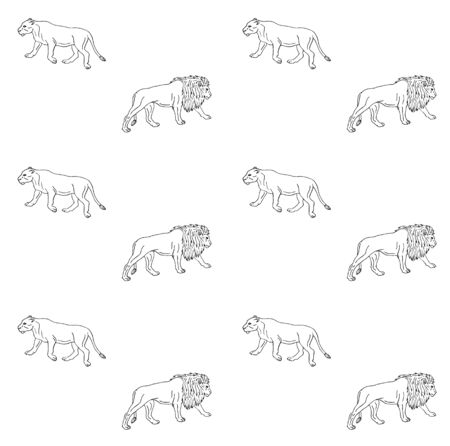 Vector seamless pattern of black line hand drawn sketch lion isolated on white background Ilustração