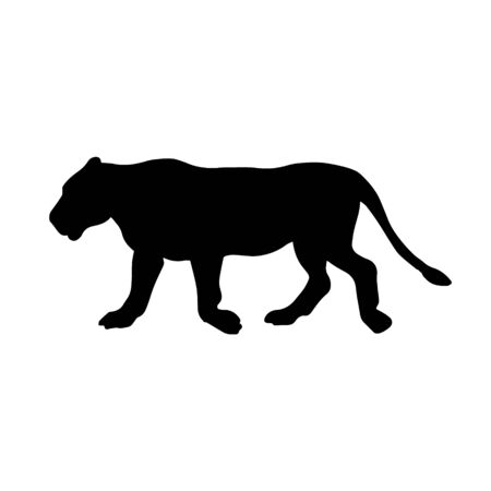 Vector flat black silhouette of female lion isolated on white background