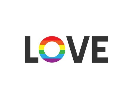 Vector flat love with rainbow flag lettering isolated on white background Çizim