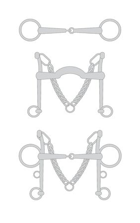 Vector flat cartoon set collection of horse equestrian bit snaffle isolated on white background Ilustrace