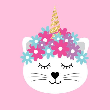 Vector flat cartoon caticorn cat face with golden glitter unicorn horn and flowers isolated on pink background