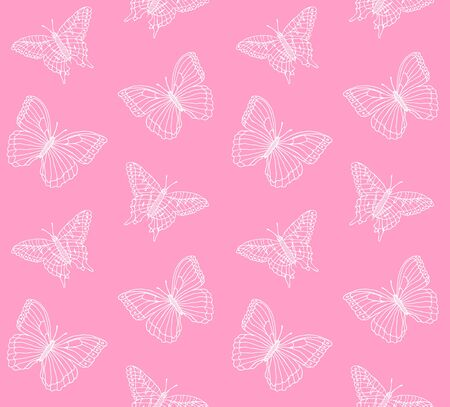 Vector seamless pattern of hand drawn doodle sketch butterfly isolated on pastel pink background Illustration