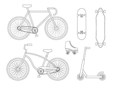 Vector flat line set collection of bicycle skateboard scooter and roller skates isolated on white background
