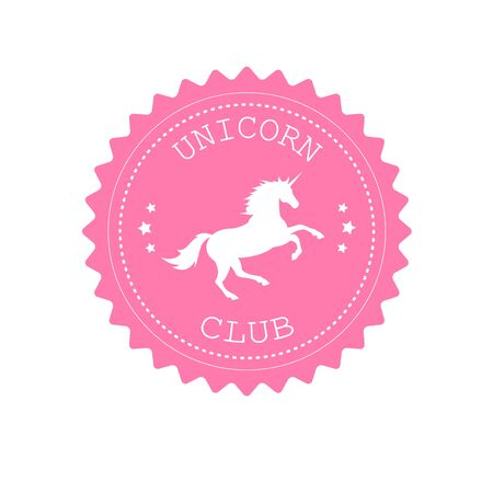 Vector flat retro round pink with unicorn isolated on white background Çizim
